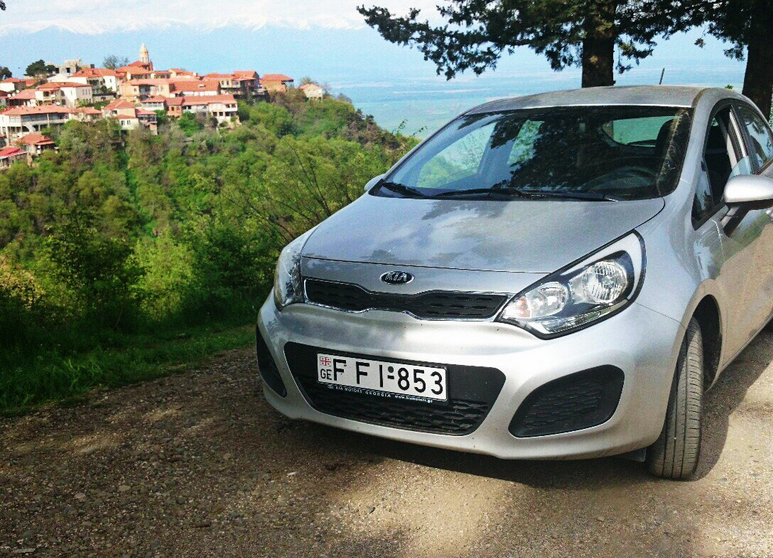 with a rented car in Sighnaghi